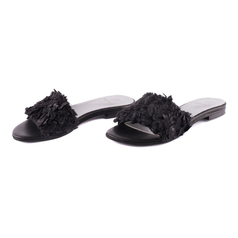 8b3c2b2a1894 ON SALE Black Feather Fabric Flat Shoes Women Handmade