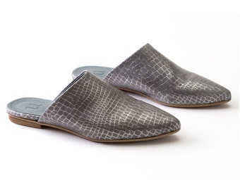 SALE! - Grey Slip on mules, Summer Shoes, Slide Sandals, Flat shoes, Grey Mules, Moroccan Flats, Handmade Sandals, Open Back Sandals