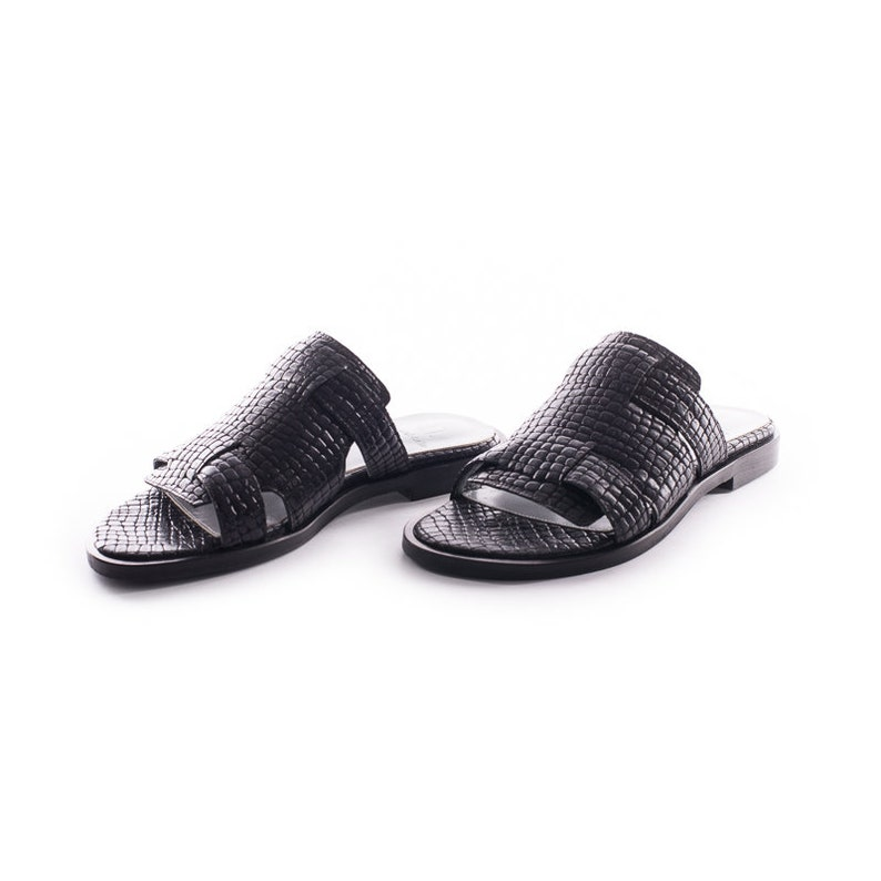 2d82f80958648 ON SALE! Black Textured Leather Flat Shoes, Women Handmade Rounded Toe  Sandals, Flats Slip On Style,Women's Slides,Open Back Summer Shoes