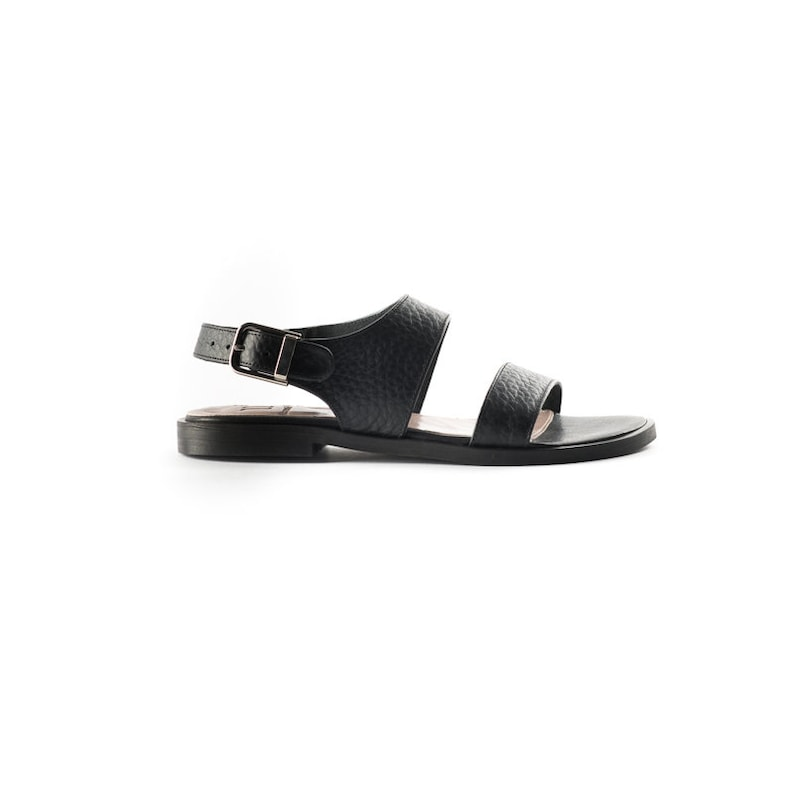 2f6949ebc ON SALE Black Leather Sandals Two Straps Sandal Women s