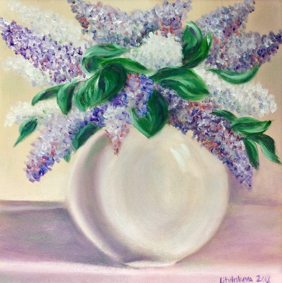 White Vase With Lilac Etsy
