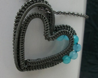 Wire Wrapped Heart Pendant in Gun Metal and Amazonite