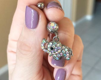 Navel Ring, Belly Button Ring, Dangle Belly Ring, Navel Jewelry, Elephant Navel Ring, Elephant Belly Button Ring
