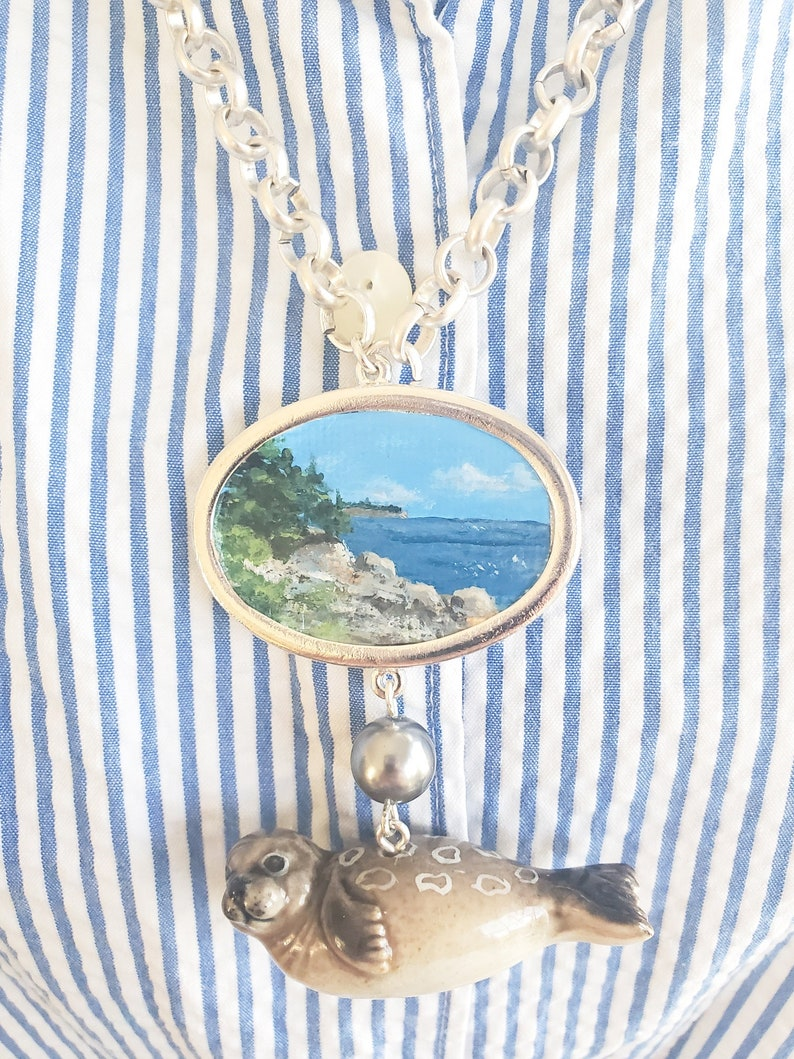 Seal by the Sea Hand Painted Pendant Necklace Coastal Inspired Jewelry Miniature Painting Necklace