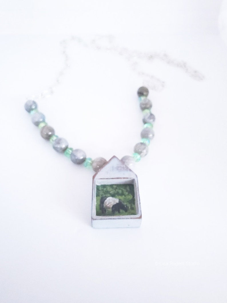 Rustic Country Necklace Miniature Painted Belted Galloway Cow Necklace Shabby Chic Jewelry Handmade Painted Necklace