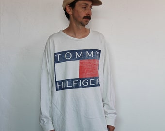 52934678 90s Tommy Hilfiger Big Flag Long Sleeve White Tee Large