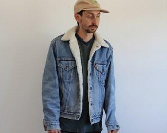 Light Wash Levis Denim Sherpa Snap Jacket Mens Medium