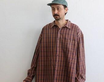 worker shirt 90/'s pattern blouse 80/'s heritage shirt women/'s button down Size M blouse for work retro shirt Vintage plaid shirt