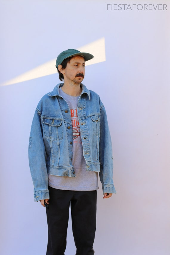70s LEE 101-J Faded Distressed Patched Denim Jacke
