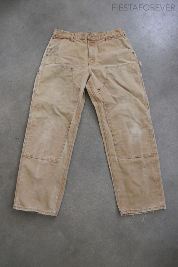 Carhartt Double Knee Canvas Beige Pants Distressed