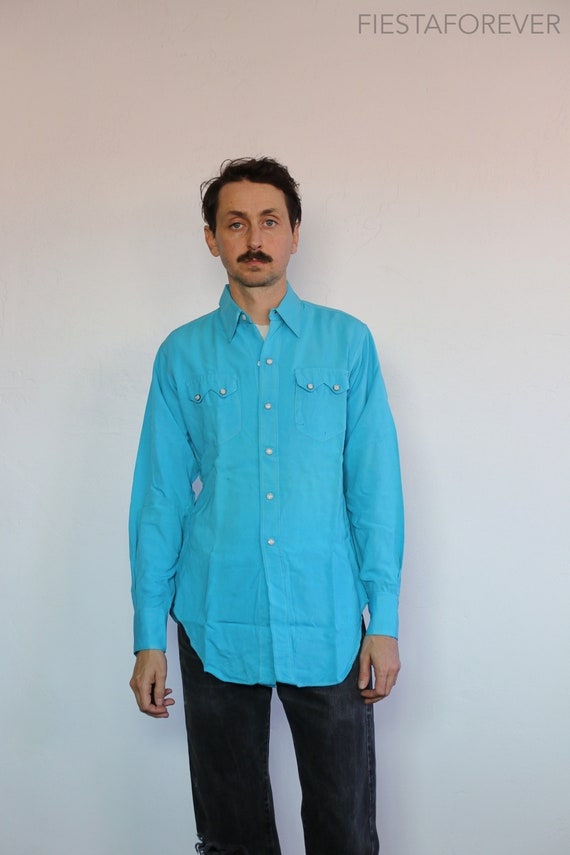50s Levis Shorthorn Western Wear Teal Pearl Snap S