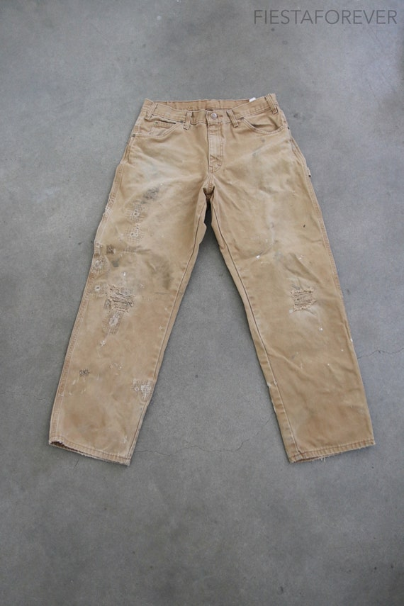 Canvas Dickies Distressed Patched Beige Pants 31 x