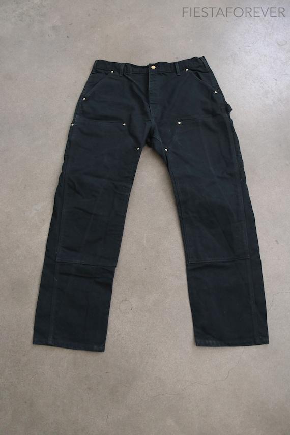 Carhartt Double Knee Canvas Black Pants 36 x 29