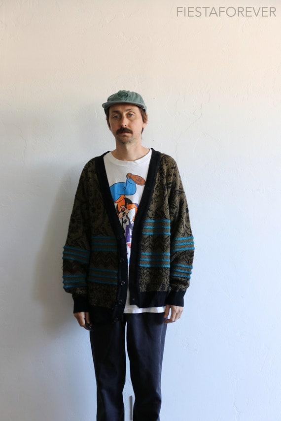 90s Acrylic Cardigan Oversized Sweater XL