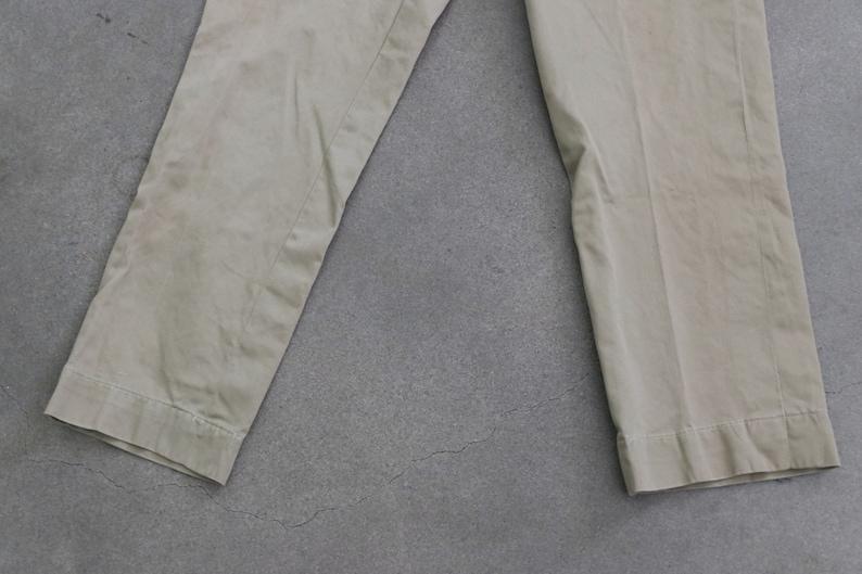 40s WWII Army Tan High Waist Trouser Slacks Pants 27 x 29
