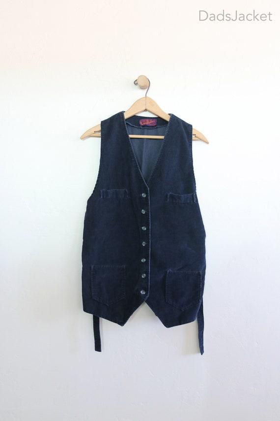 70s Corduroy Landlubber Long Tie Back Vest Womens