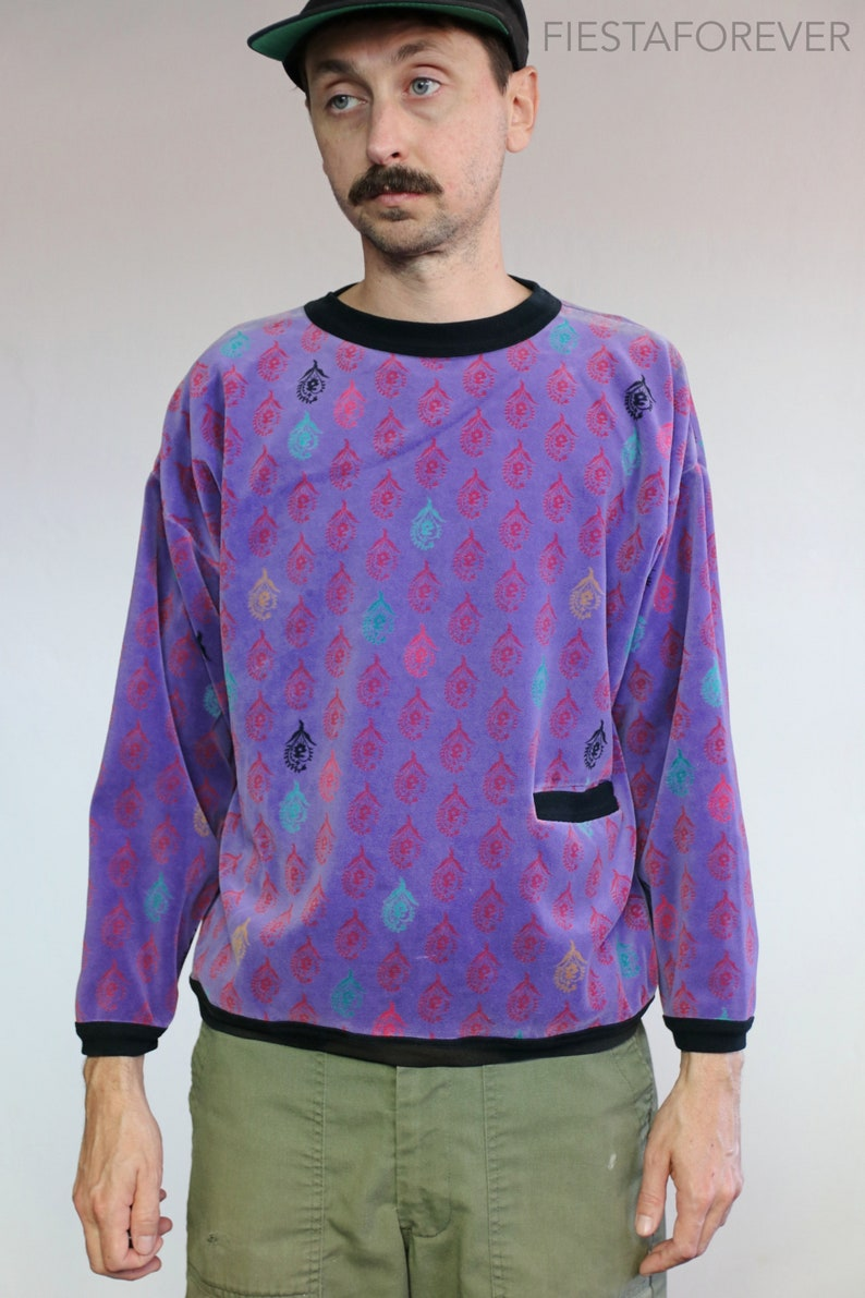 Purple Micro Fleece Paisley Sweater Small