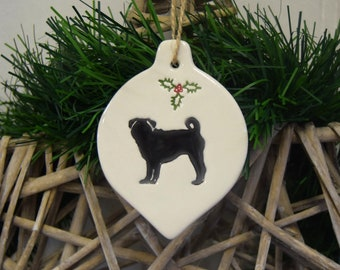 Personalised Pug Bauble Hanging Christmas Tree Ornament 18 Colours