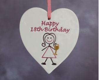 18th Birthday Gift, Handmade ceramic heart for her 18th Birthday