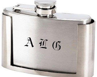 Engraved 3oz Stainless Steel Belt Buckle Hip Flask Personalized Custom