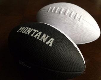 Personalized Custom Two Tone Mini Foam Football Groomsman, Best Man, Ring Bearer, Usher, Wedding, Baby, Birth Announcement, Sports Team Gift