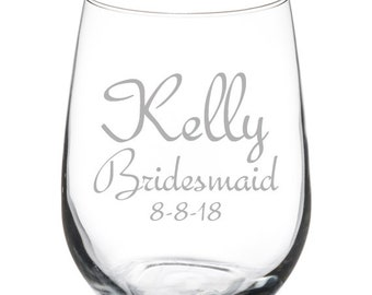 Custom Engraved Personalized 17oz Stemless Wine Glass Groomsman Wedding Bridesmaid Gift Add Text & Images!