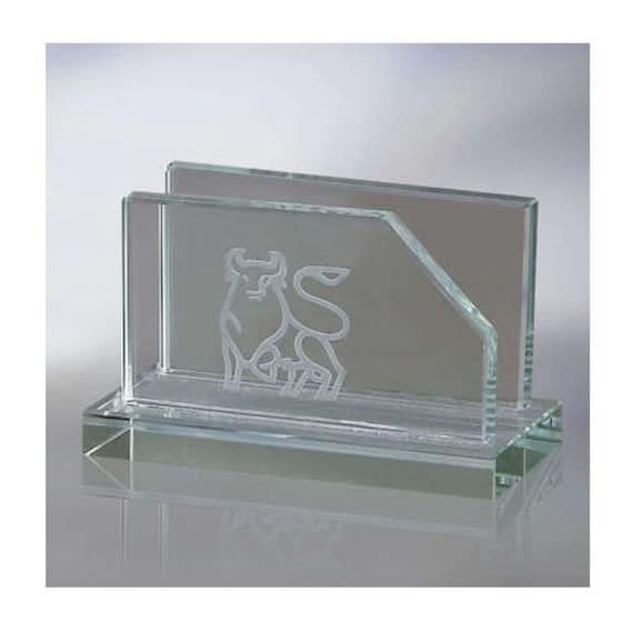 Engraved Glass Business Card Holder For Office Desk Etsy