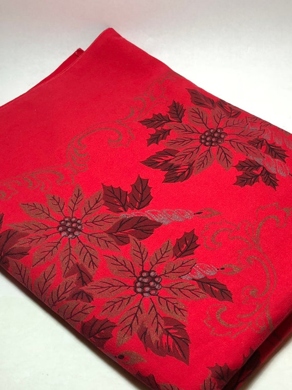 Vintage Christmas Poinsettia Tablecloth Red Rectangular Oblong   Etsy