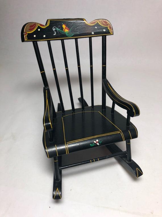 image 0 - Vintage Folk Art Rocking Chair PA Dutch Handpainted Black Etsy