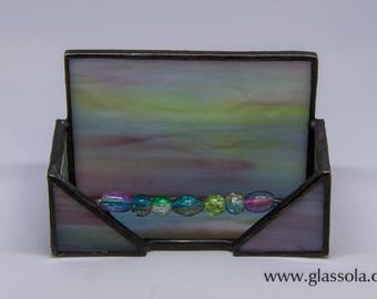 Pastel Stained Glass Business Card Holder