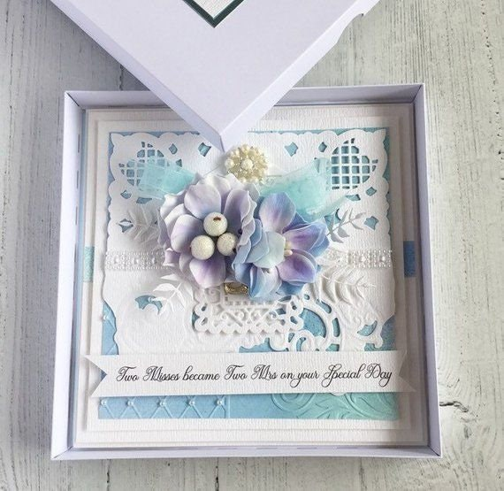 Gay Wedding Card, handmade for the Ladies - Lilac Lilies