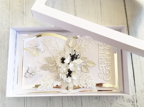 Wedding card, handmade with box, Bookatrix style - Monochrome