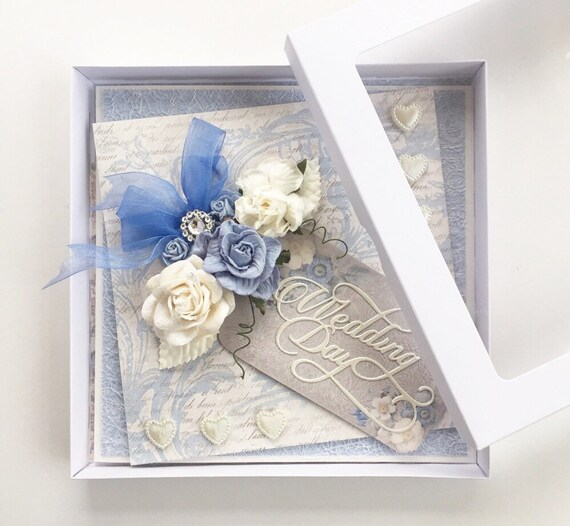 Shabby Wedding card, handmade with box - Skye