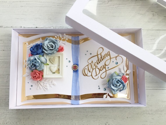 Wedding card handmade Bookatrix style Blue Topaz