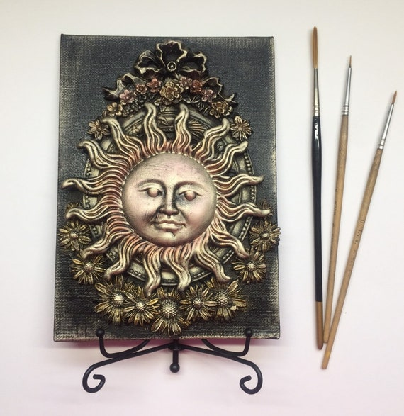 Helios - a mixed media artwork canvas with display stand