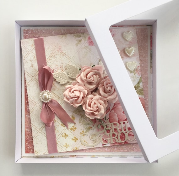 Wedding Card, handmade in Shabby style with box - Dusky Rose