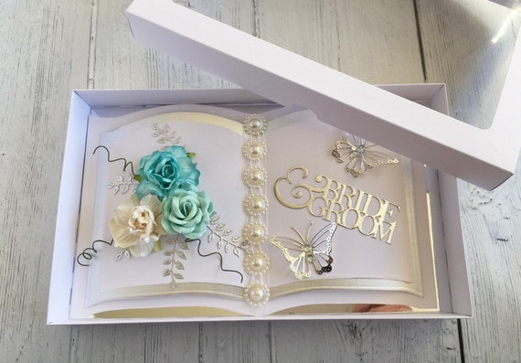 Wedding card handmade Bookatrix style Aqua Rose