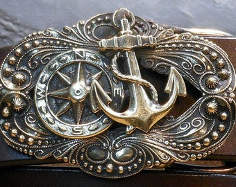 Anchor /& Rope Nautical Belt Buckle Vintage Ship Anchor Solid Brass Beach Naval Nautical Acces