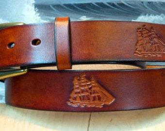 Clipper Ship Sailing Leather Belt
