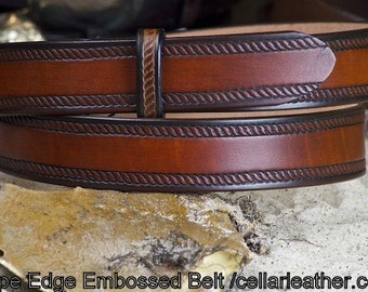 Rope Edge Embossed Leather Belt