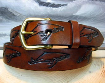 Humpback Whale Embossed Leather Belt