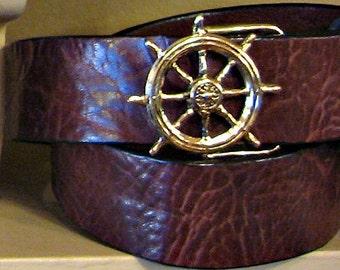 Ships Wheel Sailing Leather Belt