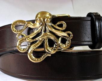 Octopus Buckle Leather Belt