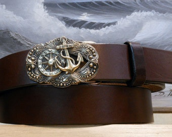 Compass Rose Anchor Sailing Leather Belt