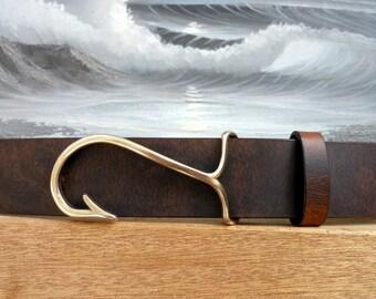 Fish Hook Buckle Leather Belt