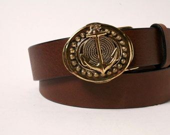 Anchor Rope Sailing Leather Belt