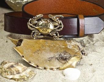 Blue Shell Crab Leather Belt