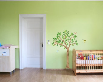 "Wall Decal ""Tree L with birds (155cm)"" nursery baby children's room decorations for wall sticker Hummingbird"