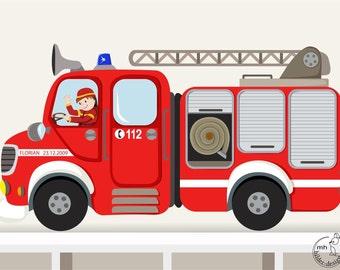 Wandtattoo Feuerwehrauto I XXL Individualisierbar Feuerwehrwagen Name Junge Kinderzimmer Wandaufkleber Wandsticker Feuerwehr