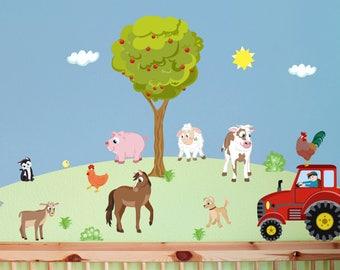 Kinderzimmer wandgestaltung bauernhof  Wandtattoo Traktor XL Bauernhof personalisierbar   Etsy